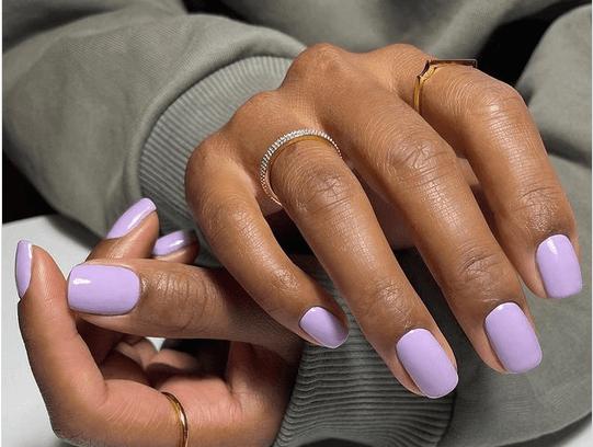 Violet colored nail polish